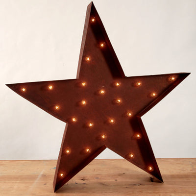 Lighted Star Sign-Iron Accents