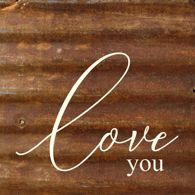 Love You Reclaimed Metal Plaque | Iron Accents