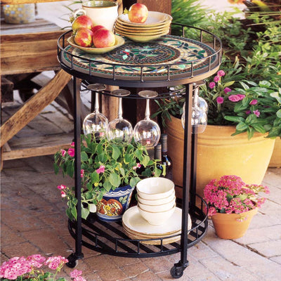 Iron & Mosaic Serving Cart