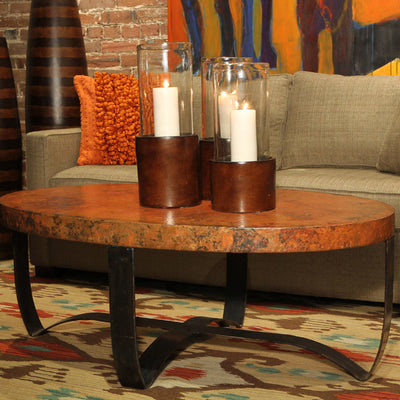 Oval Strap Coffee Table w/ Top