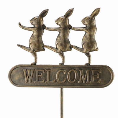 Parade Bunnies Welcome Sign-Iron Accents