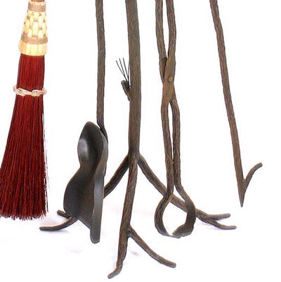 Pine Wrought Iron Fire Tools