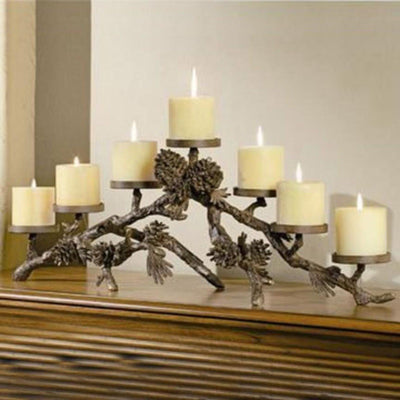Pinecone Mantel Candle Holder-Decor | Iron Accents