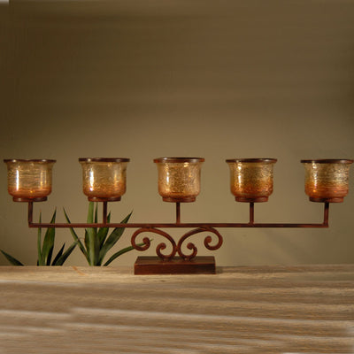Prairie Pillar Mantle Lighting | Iron Accents