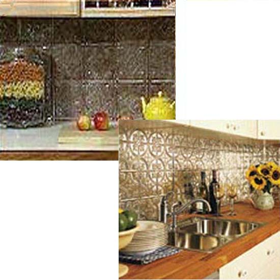 Pressed Tin Backsplash Iron Accents