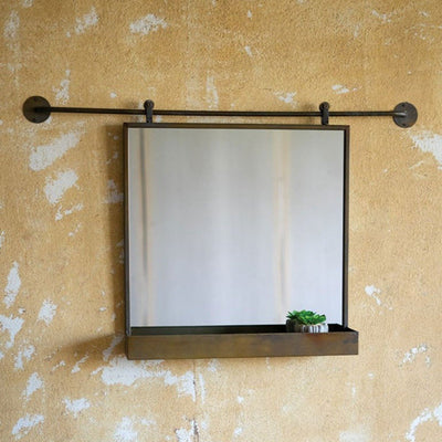 Rolling Mirror w/Shelf-Decor | Iron Accents