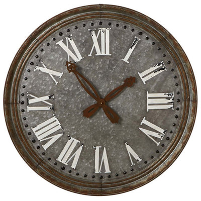 Oversize Galvanized Wall Clock | Iron Accents