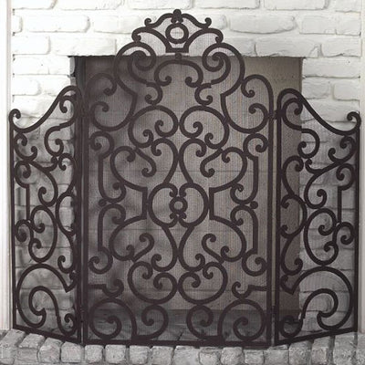 Scroll Fire Screen - Stained Gold-Iron Accents