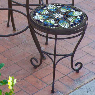 Iron & Mosaic Side Table - 18""