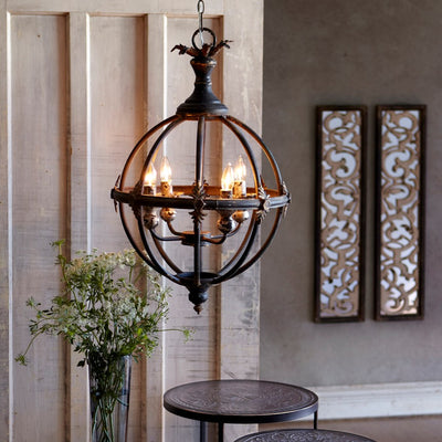 Sphere 4-Light Pendant | Iron Accents