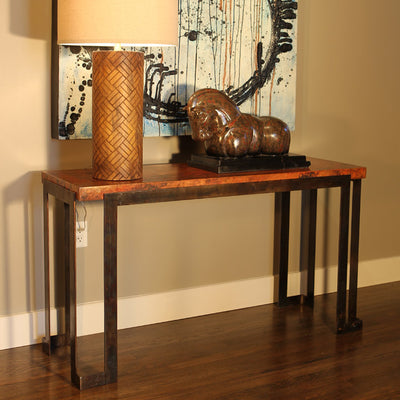 Steel Strap Console Table w/ Top