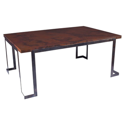 Steel Strap Dining Table with Dark Copper Top