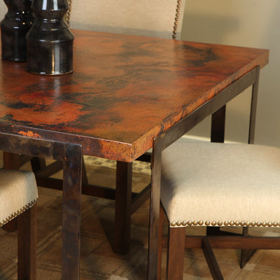 Steel Strap Rectangle Dining Table or Base (72x44 Tops) | Iron Accents