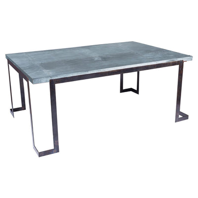 Steel Strap Dining Table with Zinc Top