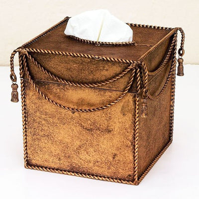 Swag & Tassel Tissue Box-Iron Accents