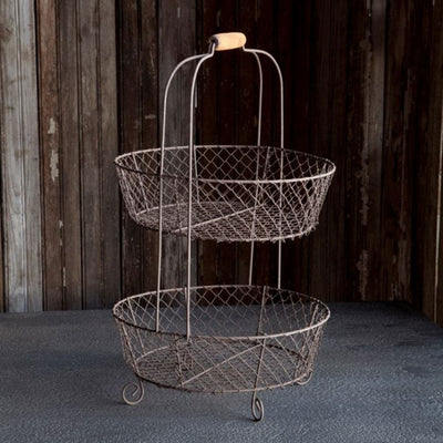 Two Tier Wire Basket | Iron Accents