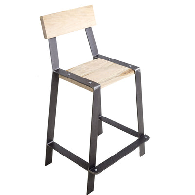 Urban Forge Counter Stool w/ Back | Iron Accents