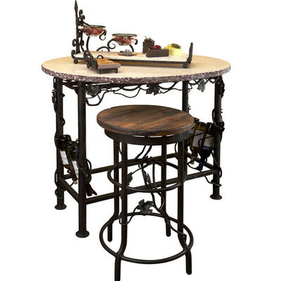 Vineyard Wine Tasting Table-Iron Accents
