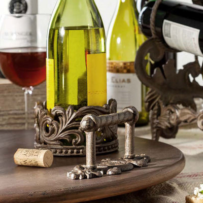 Wine Coaster & Stopper Set | Iron Accents