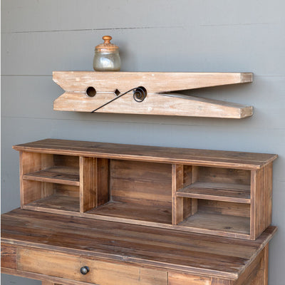 Wooden Clothespin Shelf #30 | Iron Accents