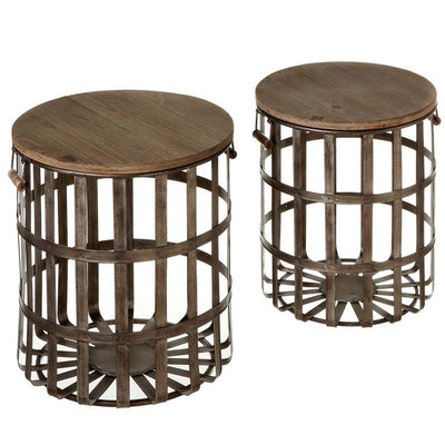 Woven Basket Side Table (Set-2)