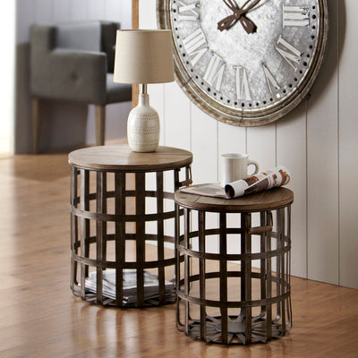 Woven Basket Side Table (Set-2) | Iron Accents