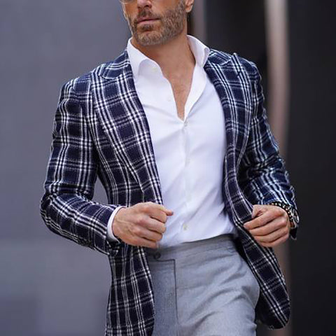 Mens Stylish Casual Plaid Blazer