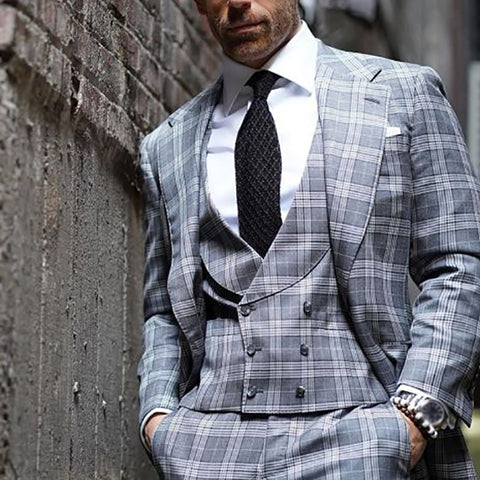 Mens Classic Formal Check Button Blazer
