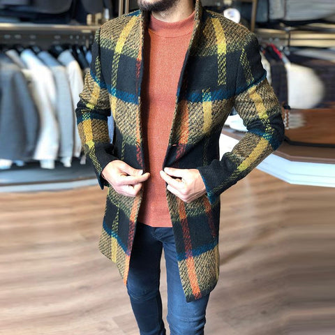 Fashion Plaid Single-Breasted Long Sleeve Coat