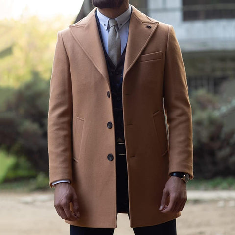 Pure Color Single Breasted Peak Lapel Overcoat