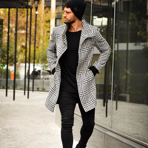 Fashion Plaid Lapel Single-Breasted Mid-Length Coat