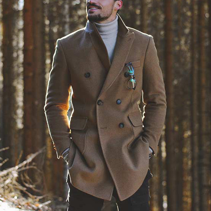 Fashion slim fit double-breasted mid-length woolen coat