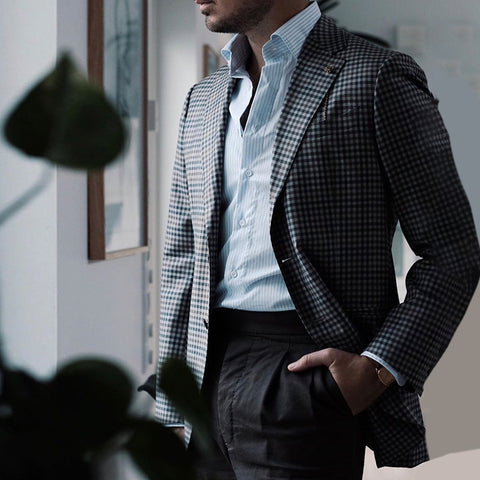 Stylish Plaid Fold Over Collar Single-Breasted Blazer