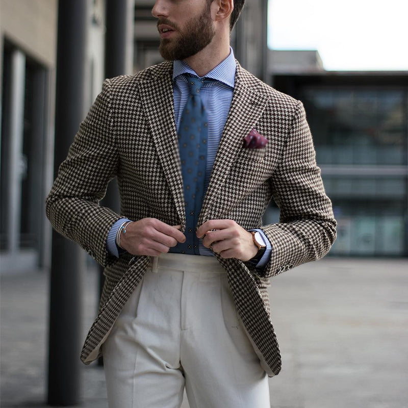 Single-Breasted Notch Lapel Houndstooth Blazer