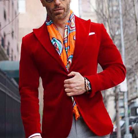Mens Fashion Casual Solid Color Blazer