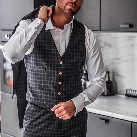 Men's Plaid Lapel Business Vest