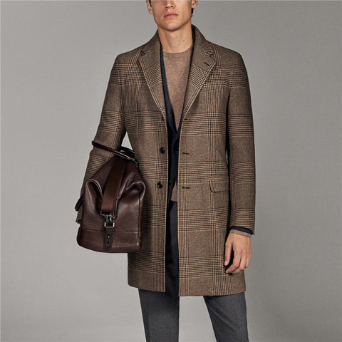 Fashion Plaid Notch Lapel Overcoat