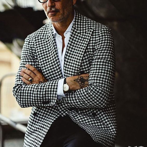 Mens Fashion Plaid Printed Overcoat