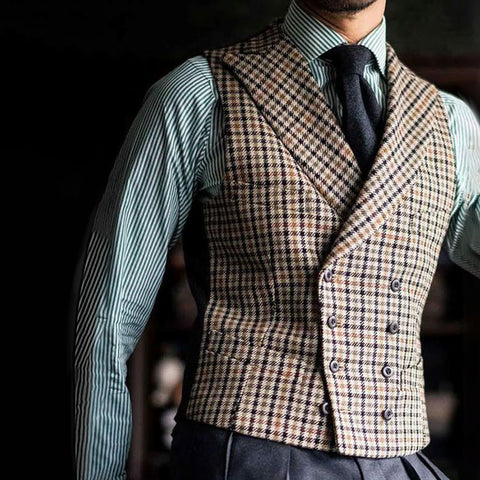 Vintage Fashion Double-Breasted Plaid Vest