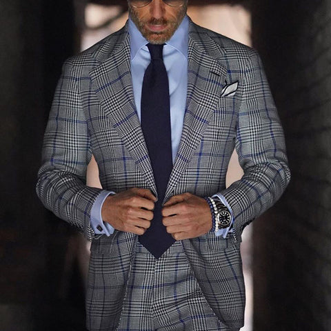 Mens Classic Formal Plaid Blazer