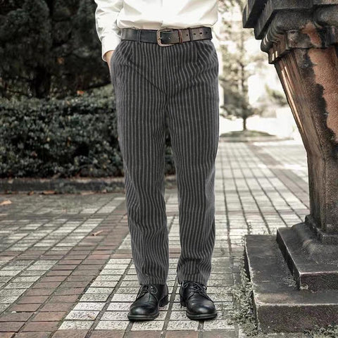 Mens Vintage Classic Striped Straight Pants