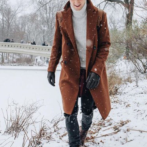 Fashion double-breasted mid-length woolen coat in brown