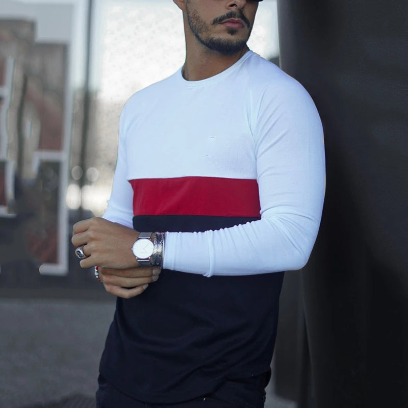 Men's fashion round neck color matching long-sleeved T-shirt