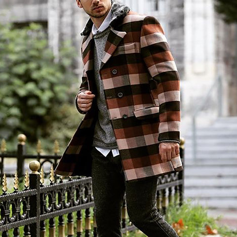 Men's Plaid Pocket Double-breasted Warm Overcoat