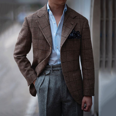 Fashion Men's Plaid Lapel Blazer