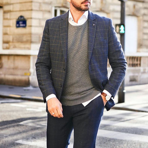 Fashion blue plaid single-breasted men's blazer