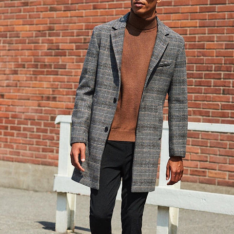 Men's Classic Check Button Coat