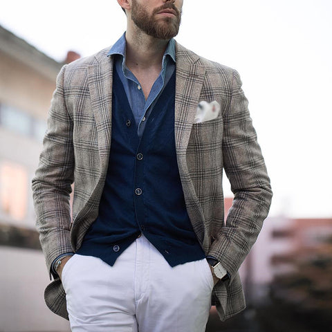 Single-Breasted Notch Lapel Grid Pattern Blazer