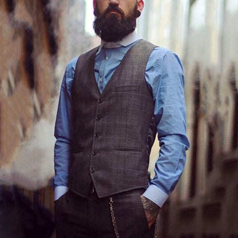 Business casual check v neck mens vest