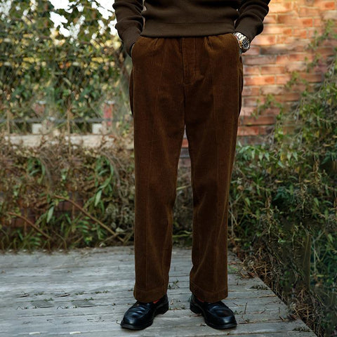 Mens Classic Solid Color Straight Corduroy Pants